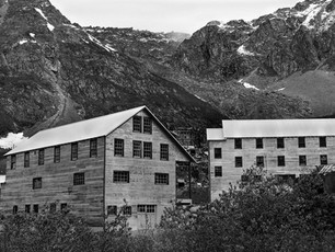 Structures at the Independence Mine Complex nestled at 3,000 feet in the Talkeetna Mountains of Southcentral Alaska.  Chamonix 045N-2, 210mm Caltar II-N, TMax 400.