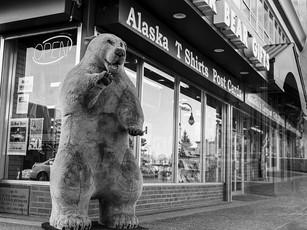 Polar Bear Gifts in downtown Anchorage.  Mamiya RB67 Pro SD, 90mm Sekor C, Fuji Acros.