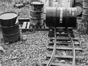 The diesel engines used to fuel the generators and air compressors at the Powerhouse wing of Independence Mine's mill complex used thousands of gallons of fuel a day to keep the operation running.  The fuel, then about 15 cent a gallon, was delivered to the nearby town of Wasilla by train. In 1941, the fuel storage capacity was 178,000 gallons at the mine and 46,000 gallons in Wasilla.  Nagaoka Seisakusho 4x5 Wood Field, 210mm Caltar II-N, FP4+.
