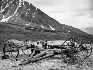 Remnants of old carts used in and around the Independence Mine Complex.   Mamiya RB67 Pro SD, 90mm Sekor, Fuji Acros.