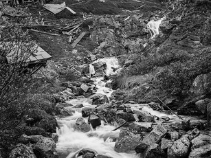 One of several streams careening thru the center of the Independence Mine Complex nestled 3,000 feet in the Talkeetna Mountains.   Mamiya RB67 Pro SD, 90mm Sekor C, Fuji Acros.
