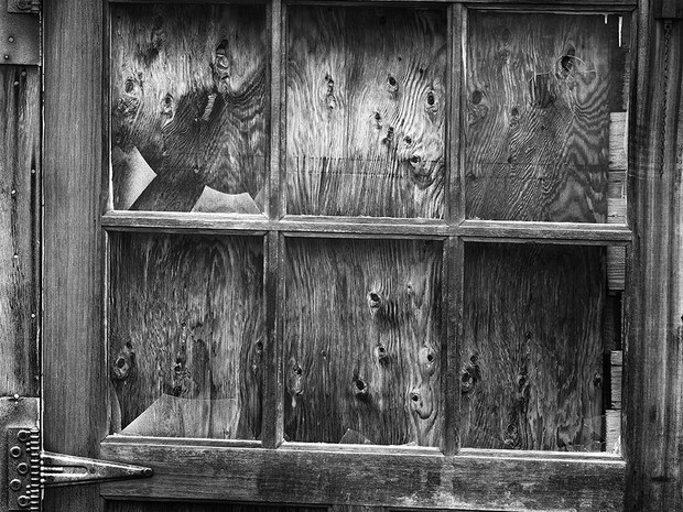 Weathered door at the old framing building at the Independence Mine Complex.  Nagaoka 4x5 Wood Field, 210mm Caltar II-N, Ilford HP5+.