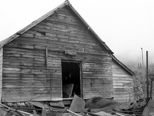 Built in 1940, this framing shop at the Independence Mine Complex was used to cut and fit heavy timbers for camp buildings and other construction projects. Open platforms were located at either end of the shop, one side for stacking rough timber, the other for cutting.  Nagaoka 4x5 Wood Field, 210mm Caltar II-N, TMax 400.