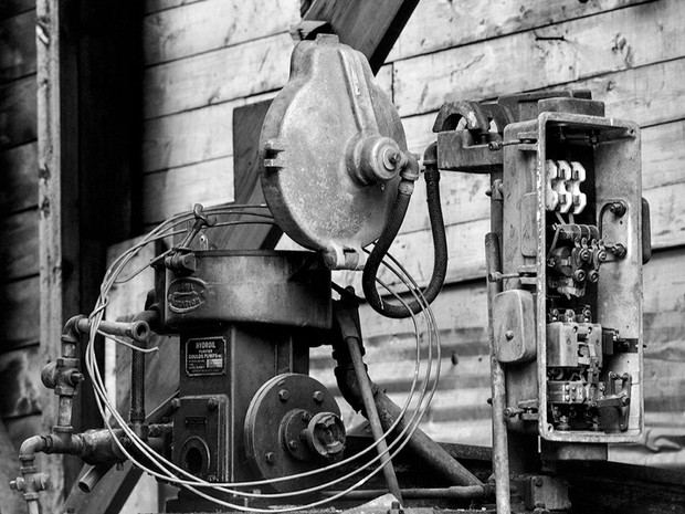 An old Goulds Hydroil Pump at what was the powerhouse of the mill complex at Independence Mine, Southcentral Alaska.  Mamiya RB67 Pro SD, 90mm Sekor, Fuji Acros.