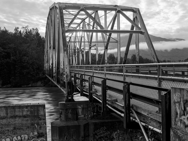 Day breaks over the old Matanuska River Bridge in Palmer, Alaska.    Toyo 45A II, 150mm Schneider Kreuznach Symmar-S, Kodak TMax 400.