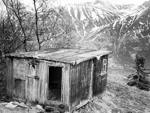Never know what you'll find around the bend in the Last Frontier. Like this old cabin nestled 2000 feet in the Talkeetna Mountains.    Chamonix 045N-2, 210mm Caltar II-N, Ilford HP5+.