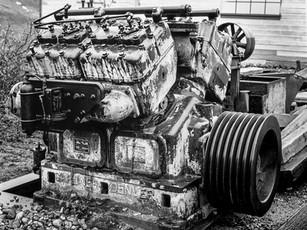 Gardner-Denver diesel engine, Independence Mine Complex.  Mamiya RB67 Pro SD, 90mm Sekor, Fuji Acros.
