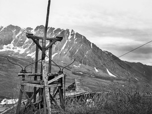 Top of the old aerial tram system at Independence Mine in the Talkeetna Mountains.  RB67 Pro SD, 90mm Sekor, Fuji Acros.
