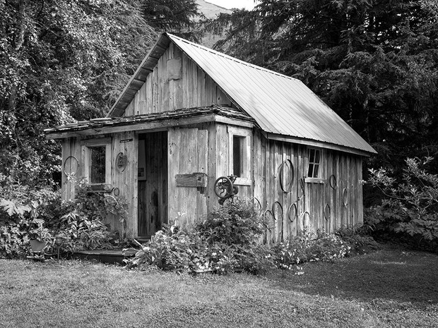 Built in 1893, this old miner's cabin still stands at the Crow Creek Mine near Girdwood, said to have been the richest gold mine in Southcentral Alaska.  Mamya RB67 Pro SD, 90mm Sekor, Fuji Acros.