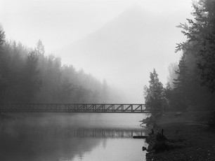 Fog over the Eklutna Tailrace.  Nagaoka 4x5 Wood Field, 210mm Caltar II-N, Kodak TMax 400.