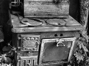 Early 1900s McClary's cast iron wood burning stove.  Mamiya RB67 Pro SD, 90mm Sekor, Fuji Acros.