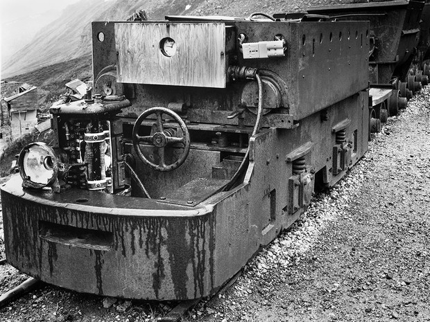 Tram cars at Independence Mine, Southcentral Alaska, used to haul ore from the mine to the ore sorting plant.  Mamiya RB67 Pro SD, 90mm Sekor, Fuji Acros.