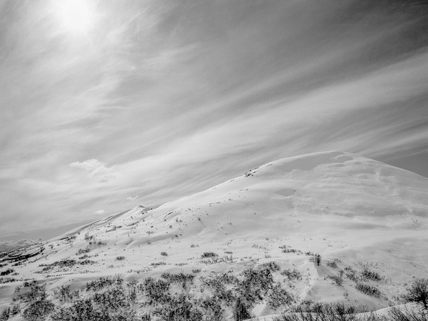 High noon in the Talkeetna Mountains.  Chamonix 045N-2, 210mm Caltar II-N, Kodak TMax 400.