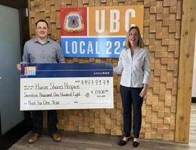 UBC Local 2222 makes donation of one year's rent