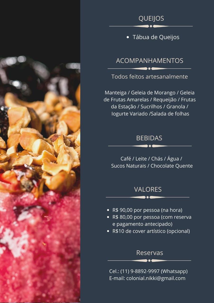 Menu: Restaurante Jardim Colonial, Brunch Mais arejado de São Paulo