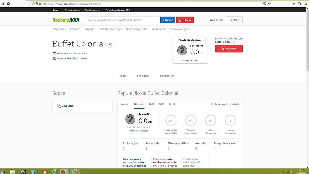 relame aqui, www.reclameaqui.com.br, buffet colonial, buffet para casamento, são paulo, moema
