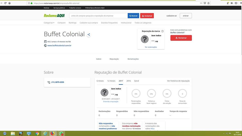 www.reclameaqui.com.br, reclame aqui, buffet colonial