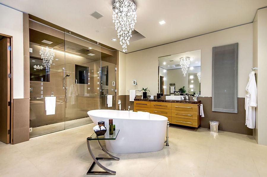 Chandelier lights bathroom