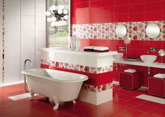 Red colored bathroom featuring lights