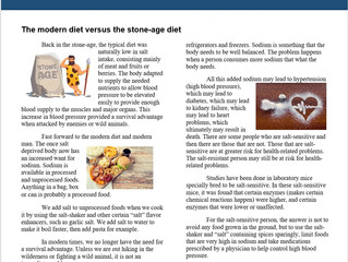 The Modern Diet Versus the Stone Age Diet