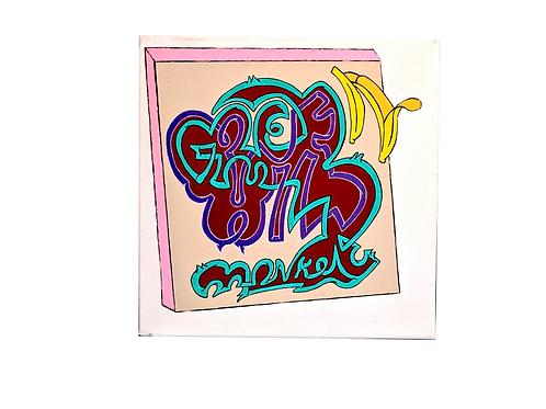 """""""Green Wild Monkey"""" Acrylic 12""""x 12"""" Canvas"""