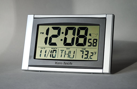 "Atomic Clock with 2"" LED Digits, Cal, & Temp"
