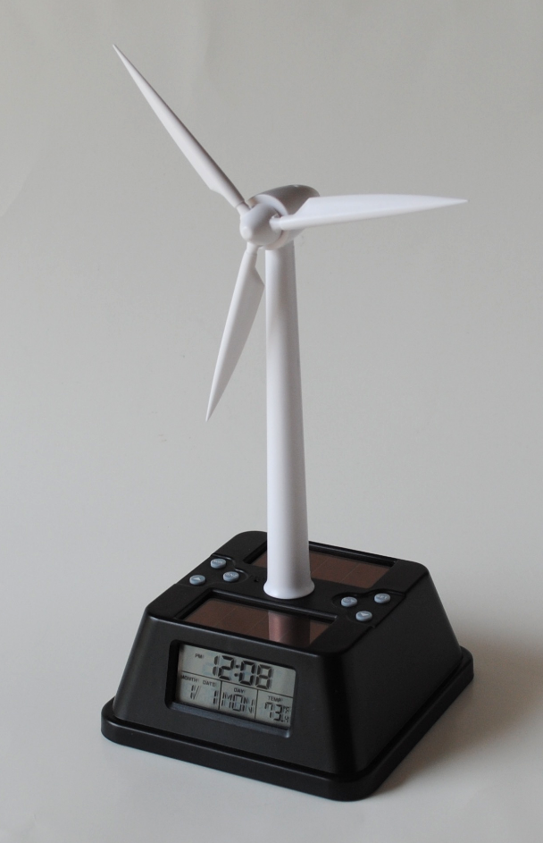 SOLAR POWERED WIND TURBINE CLOCK