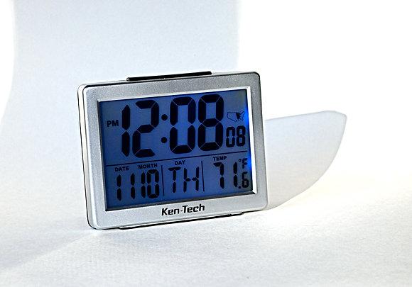 Atomic Alarm Clock w/Bright Blue Backlit Display