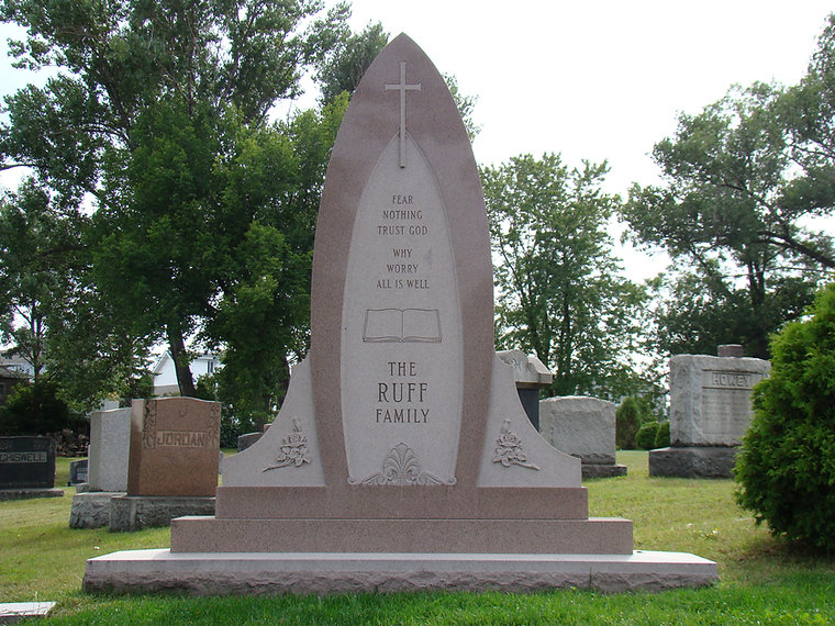 Erected in the 1960's the Ruff family monument stands about 9 feet tall.