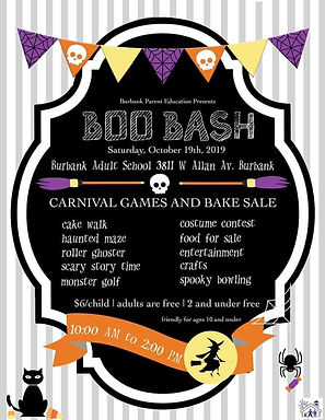 Burbank Parent Education Program Boo Bash 2019 Flier