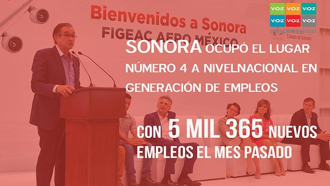 Incrementa empleo en Sonora en el mes de mayo