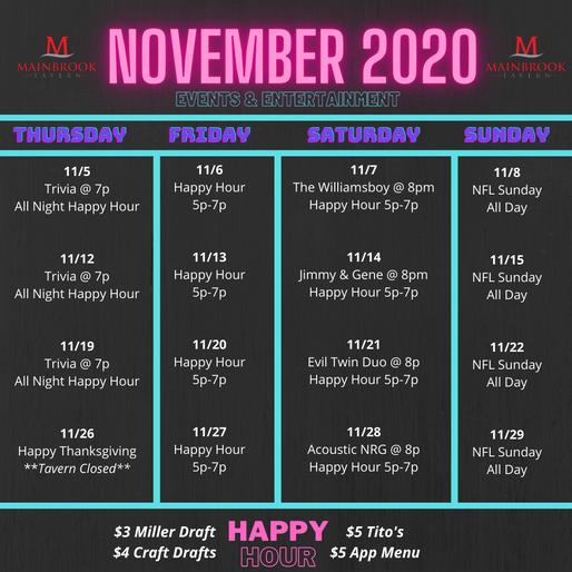 November Events & Entertainment