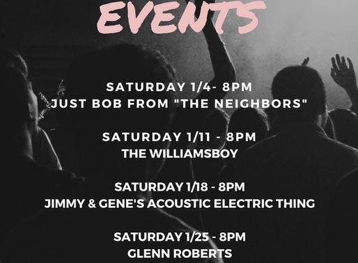 January Event Schedule - Live Music & Karaoke