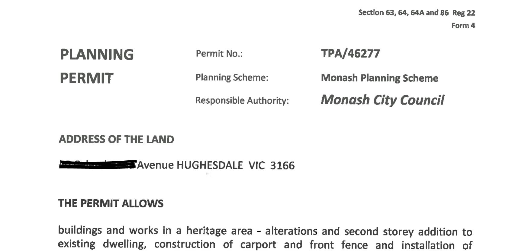 Monash Council planning permit