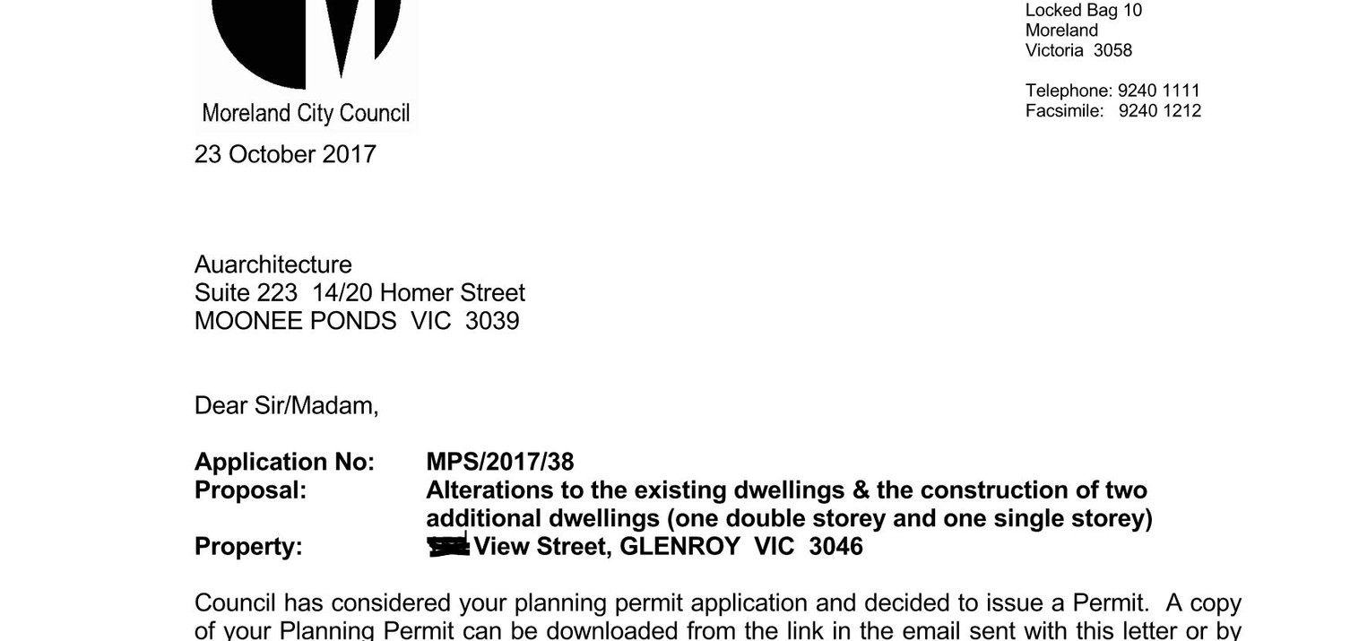 Moreland Council planning permit for 2 u