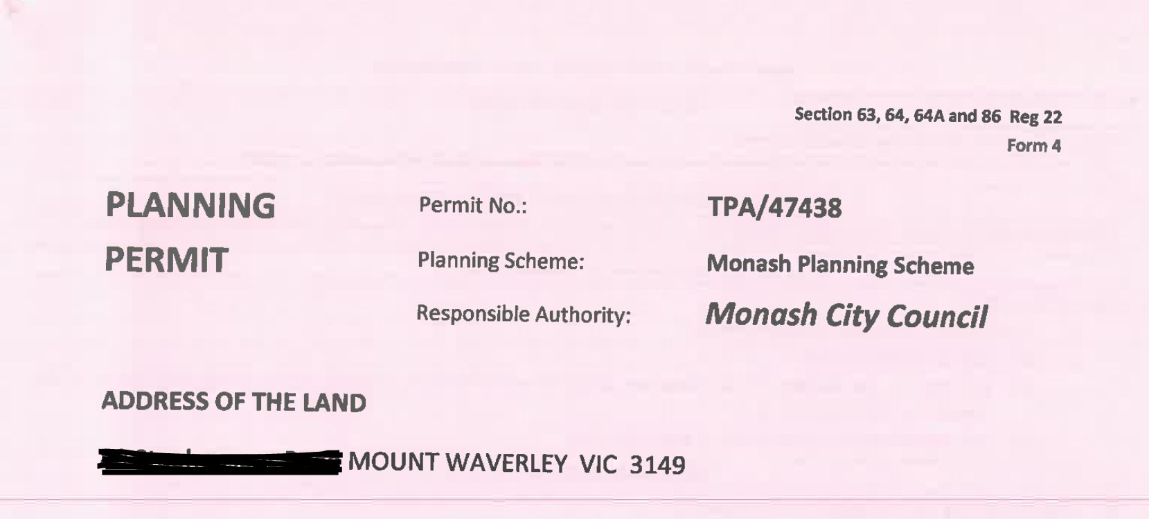 Monash Council approval
