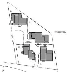 Subdivision plan with shared driveway common property