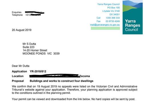 Tecoma Planning Permit