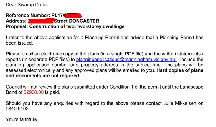 Manningham Council Planning permit