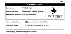 Maribyrnong Planning Permit