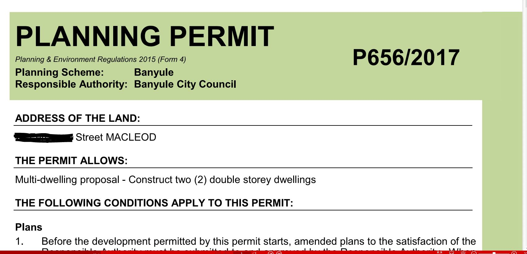 Banyule Council Planning permit