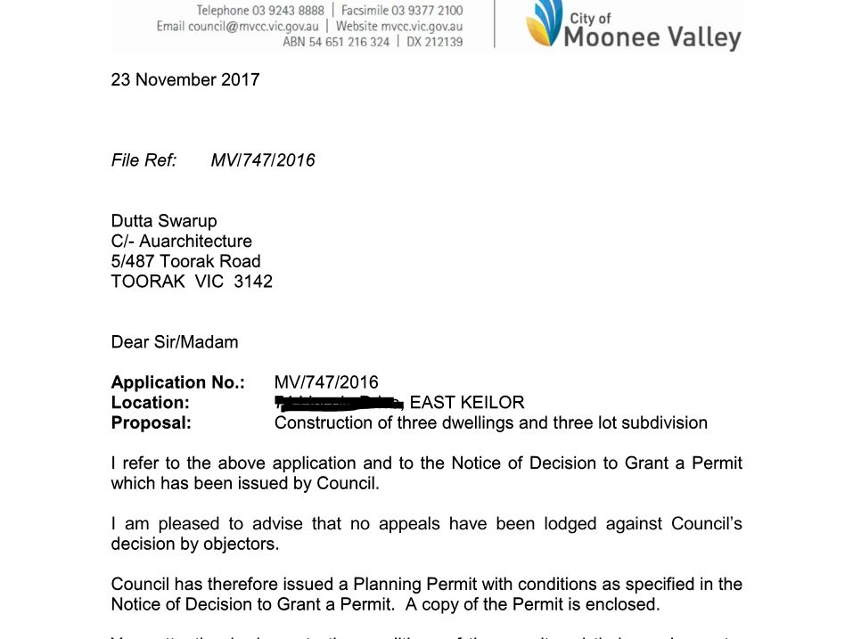 Moonee Valley Council planning permi