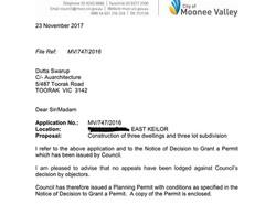 Moonee Valley Council planning permi