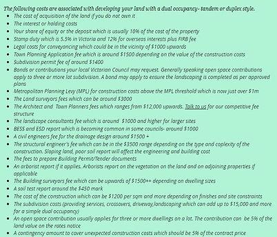 dual occupancy development costs
