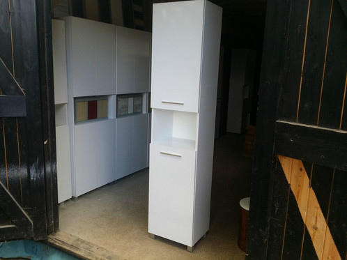 Tall bathroom cabinet with laundry basket 300mm | Wooden Garage ...