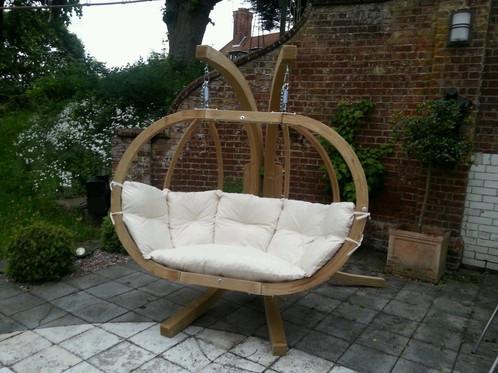 Wooden double swing pod Swinging garden sofa | Wooden ...