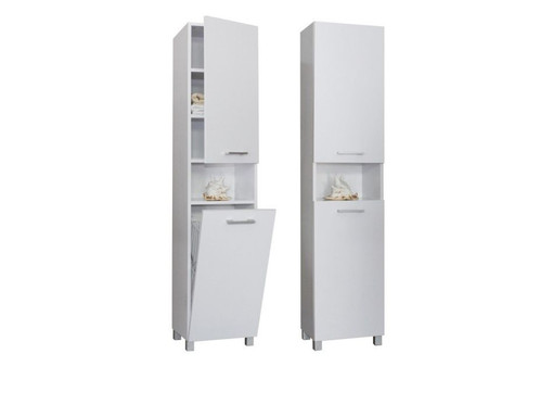 Tall bathroom cabinet with laundry basket 400mm wooden - Tall bathroom storage cabinets with doors ...