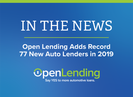 Open Lending Adds Record 77 New Auto Lenders in 2019