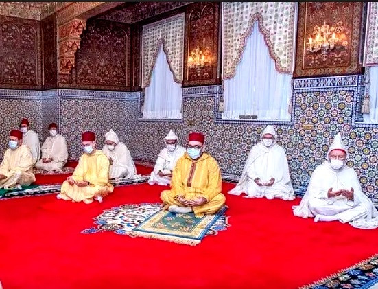Morocco King Mohammed VI performing Eid prayers at palace. By Safaa Kasraoui