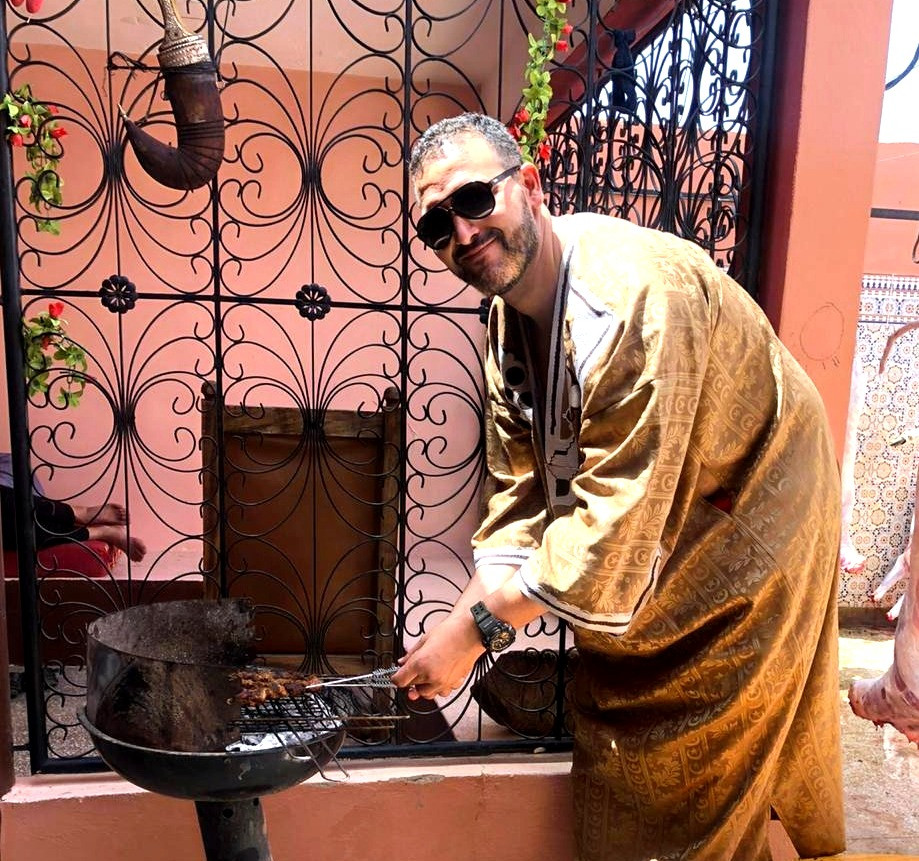 Said Ait Bajja making Eid food Boulfaf at Ouarzazate Morocco